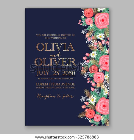 Wedding invitation printable template with floral wreath or bouquet of rose flower and daisy Romantic pink peony bouquet bride wedding invitation template design. Bridal shower invitation card