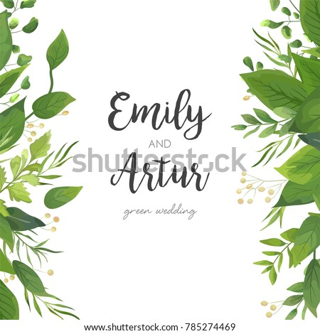 Wedding invitation save date card floral em vetor stock 785274469 wedding invitation save the date card floral design with green watercolor fern leaves tropical stopboris Image collections