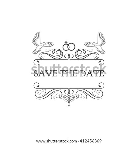 Wedding Invitation Save Date Dove Pigeon Stock Vector 412456369 ...