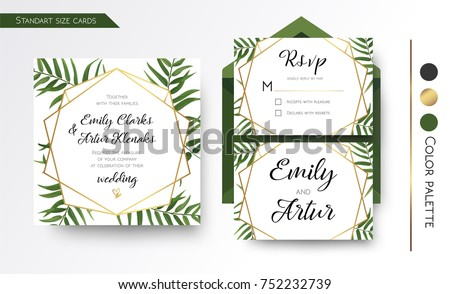 Wedding invitation save date rsvp invite em vetor stock 752232739 wedding invitation save the date rsvp invite card design with green tropical forest palm stopboris Gallery