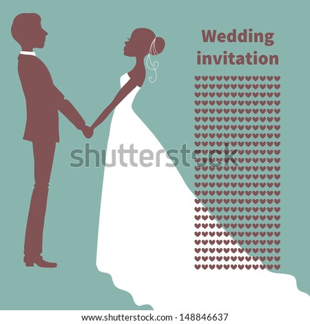 Wedding invitation. Silhouette of bride and groom. Vector illustration.