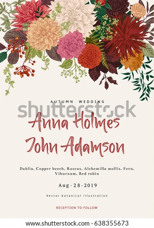Wedding invitation summer autumn flowers dahlias stock vector wedding invitation summer and autumn flowers dahlias ruscus viburnum modern floristics stopboris Images