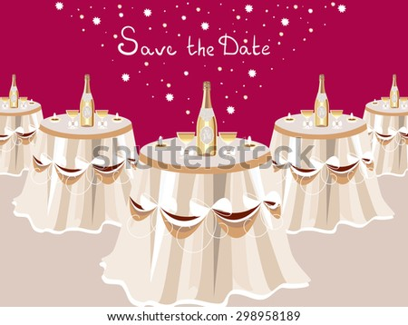 Wedding invitation table white champagne restaurant stock vector wedding invitation table with white champagne restaurant hall celebrate card vector design stopboris Image collections