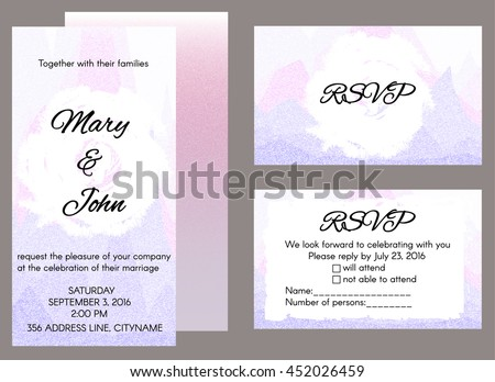 Wedding invitation template rsvp card front stock vector 452026459 wedding invitation template and rsvp card with front and back design in pastel colors eps stopboris Choice Image