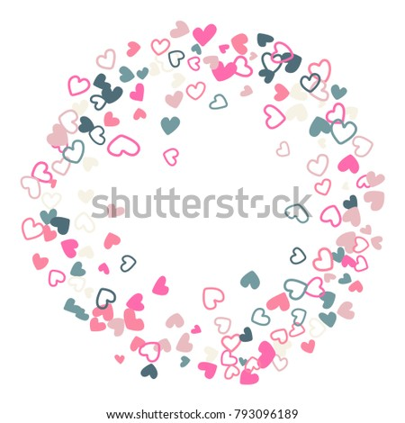 Wedding Invitation Template Border Vector Flying Hearts Confetti With Place For Text Valentine