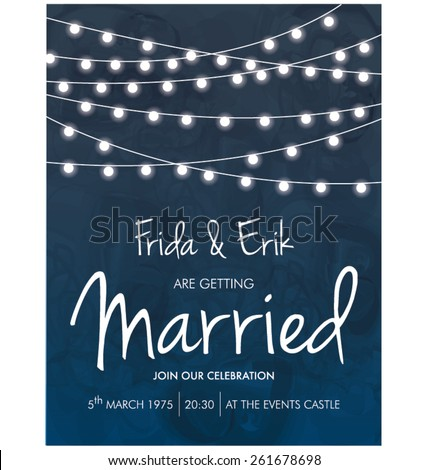 WEDDING INVITATION TEMPLATE DESIGN. Editable vector illustration file. - stock vector