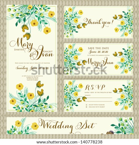 Wedding invitation template in vector. - stock vector