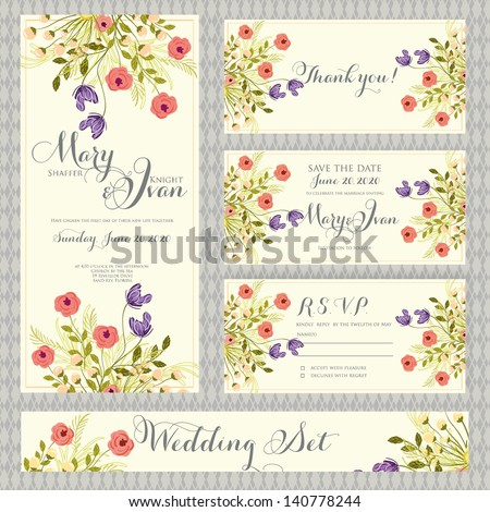 Wedding invitation template in vector.