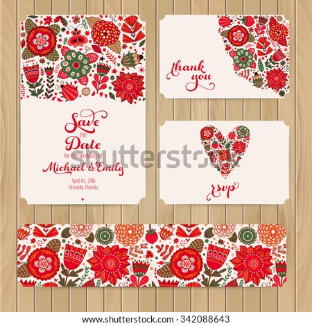 Wedding Invitation Template: invitation, envelope, thank you card, save the date cards. Wedding set. RSVP card. Marriage event. Valentine, seamless pattern is masked and complete