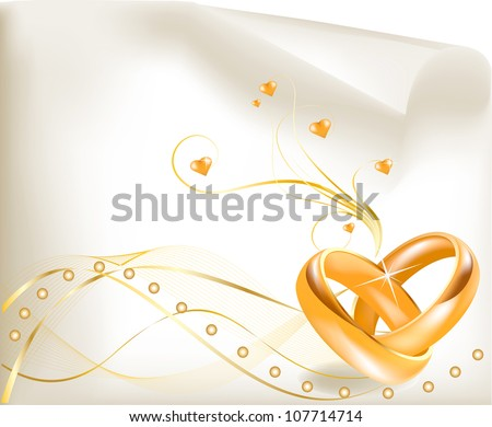 Wedding Invitation Template .Two beautiful golden wedding rings.Elegant and fashionable gold wedding rings.Wedding Invitation Card/ Wedding Invitation Template - stock vector