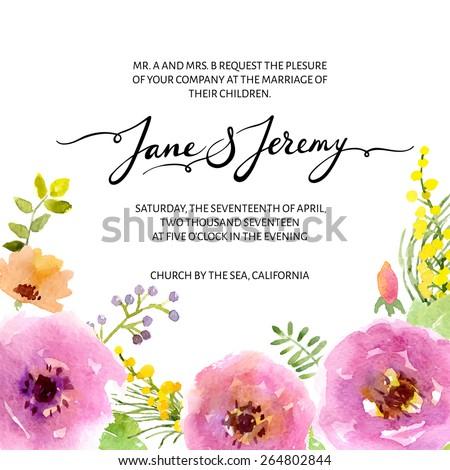 Wedding invitation template. Vector watercolor flower wedding card in bohemian style. - stock vector