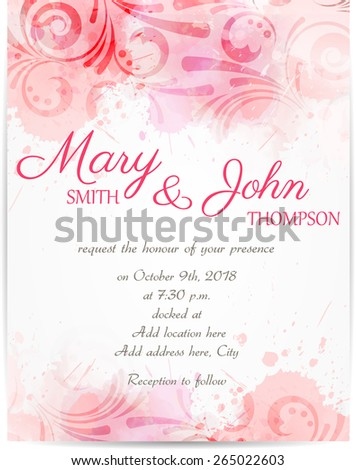 Wedding invitation template with abstract floral designs on watercolor background