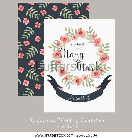 wedding invitation template with cute wreath with flowers and leaves and pattern on dark background. watercolor wedding template. - stock vector