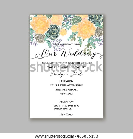 Wedding invitation template with succulents and rose bouquet with eucaliptus leaf