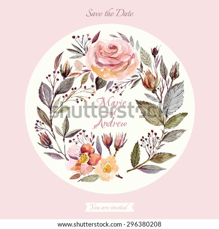 Wedding invitation template with watercolor floral wreath. Beautiful roses and leaves - stock vector