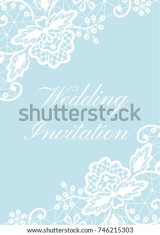 Wedding invitation template white lace border stock vector hd wedding invitation template with white lace border on blue background stopboris Gallery