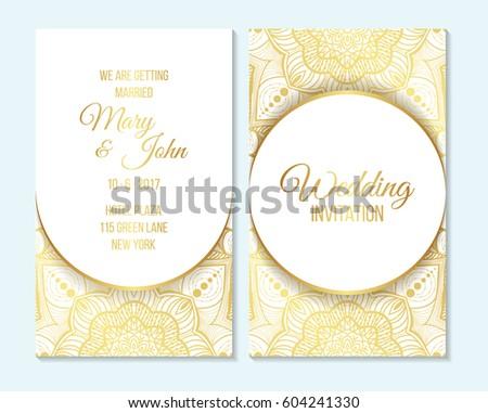 Wedding Invitation Thank You Card Save Stock Vector 604241330 ...