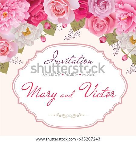 Wedding Invitation Thank You Card Save Stock Photo Photo Vector