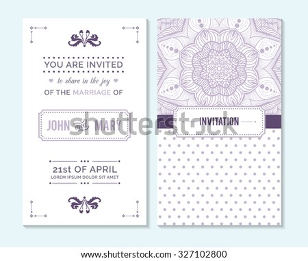 Wedding invitation, thank you card, save the date cards. Wedding invitation. - stock vector