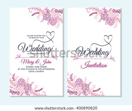 Wedding Invitation Thank You Card Save Stock Photo Photo Vector