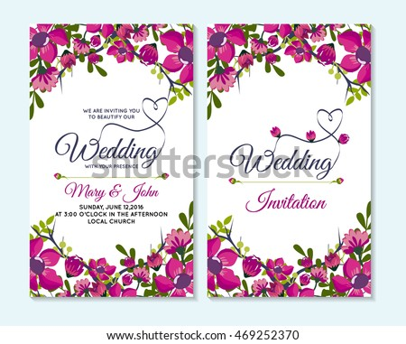 Wedding Invitation Thank You Card Save Stock Vector 469252370