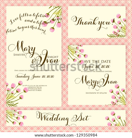 Wedding invitation, thank you card, save the date cards. Wedding set.
