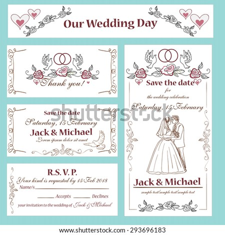 Wedding invitation, thank you card, save the date cards. Wedding set