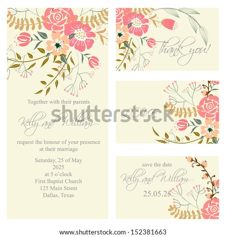 Wedding Invitation Thank You Card Save Stock Vector 152381663