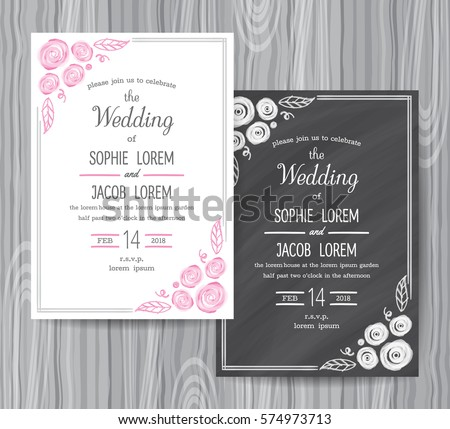 Wedding Invitation Vintage Card Freehand Flower Stock Vector HD ...