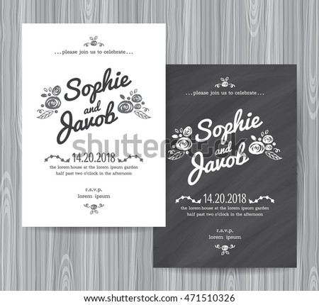 Wedding Invitation Vintage Card Wedding Invitation Stock Vector