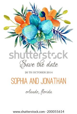 Wedding invitation watercolor - stock vector