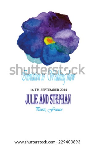 Wedding invitation watercolor vector isolated. Watercolor illustration of Violet flowers, pansy flowers
