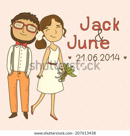 Wedding invitation with a couple of hipsters. Our hipster wedding  - stock vector