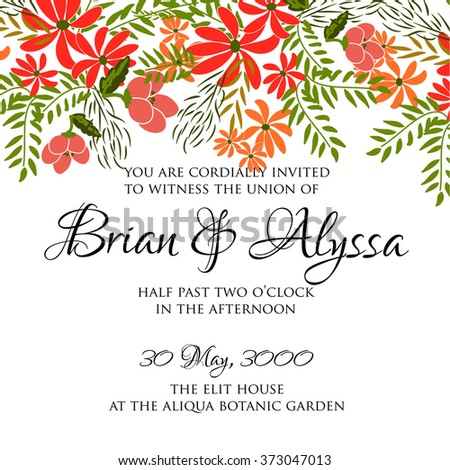 Wedding invitation with abstract floral background