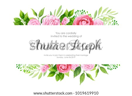 Wedding invitation camellia flowers vector illustration stock vector wedding invitation with camellia flowers vector illustration stopboris Image collections