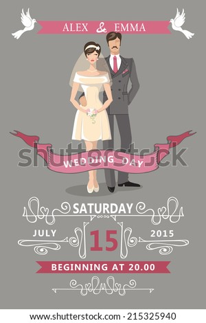 Wedding invitation with Cartoon couple bride and groom with Swirl elements,ribbon,pigeons.Decorative elements in the style of art Nouveau.Retro  design template.Vector. - stock vector