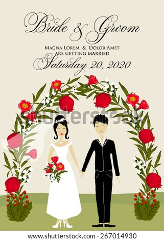 Wedding invitation with cartoon couple groom and bride - stock vector