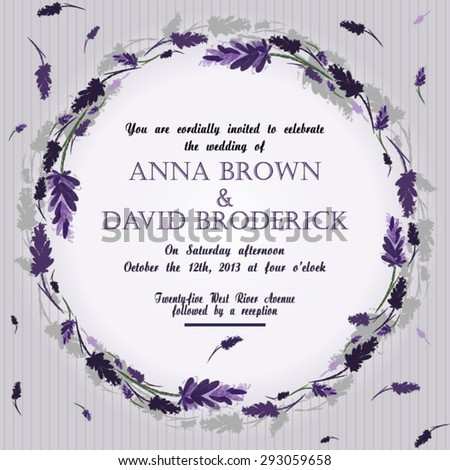 Wedding invitation with ink hand drawn lavender illustration. Vintage vector background Watercolor vector card with Lavender. Floral greeting card - stock vector