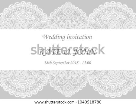 Wedding invitation lace vector illustration stock vector 1040518780 wedding invitation with lace vector illustration stopboris Images