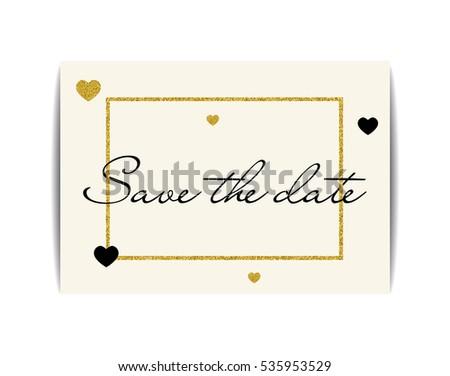 Wedding Invitation Love Symbols Save Date Stock Vector 535953529