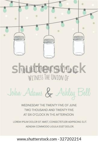 wedding invitation with mason jar and string lights blue mason jar string lights