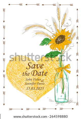 Wedding invitation with mason jar, sunflower, wheat and pencil heart. Save the date concept.