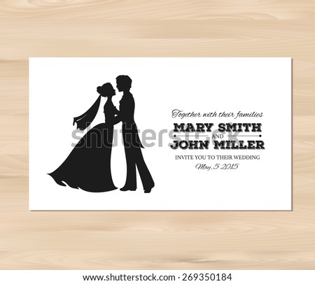 Wedding invitation with profile silhouettes of bride and groom. Card template on a wooden background. EPS 8 vector. Free fonts used: Nexa Rust, Alex Brush, Crimson - stock vector
