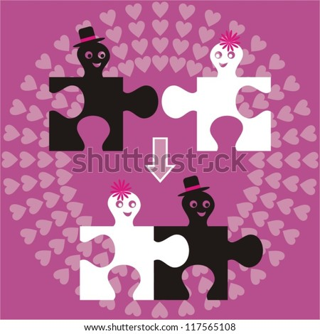 wedding invitation with puzzle man and woman - stock vector
