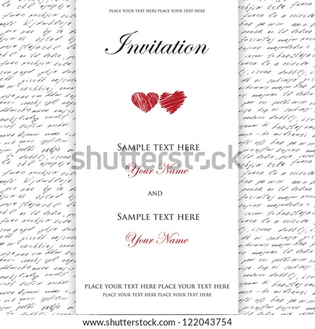 Wedding invitation with to hearts on handwrite seamless background - stock vector