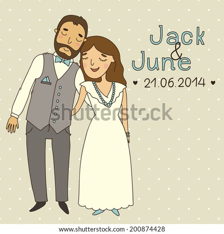 Wedding invitation with ?ute cartoon couple. Save the date. eps 10 - stock vector