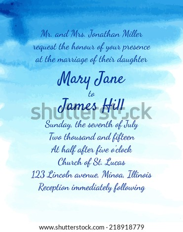 Wedding Invitation With Watercolor Background. Template Wedding Invitations  Or Announcements