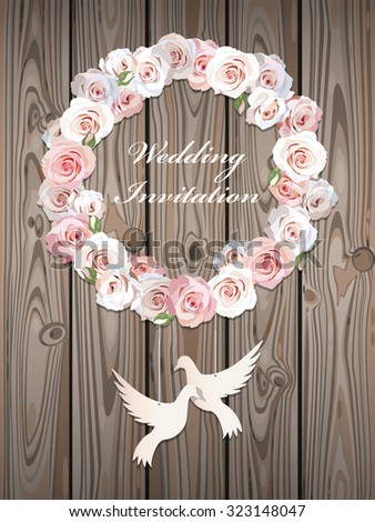 Wedding Invitation With Wreath Made Of Roses And Paper Doves