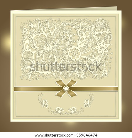 Wedding invitation with Zen-doodle flowers bow ribbon rhinestones in beige colors  or   Creative Post Card - stock vector