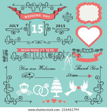 Wedding invitations design template set.Swirling decor elements,pigeons,ribbons,label,wedding icons.For Wedding  invitation,postcard,save the date card.Borders,frame  in style of art Nouveau.Vector. - stock vector